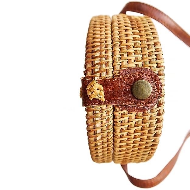 Amazon.com: Bolso redondo de ratán Bali – bolso cruzado con ...