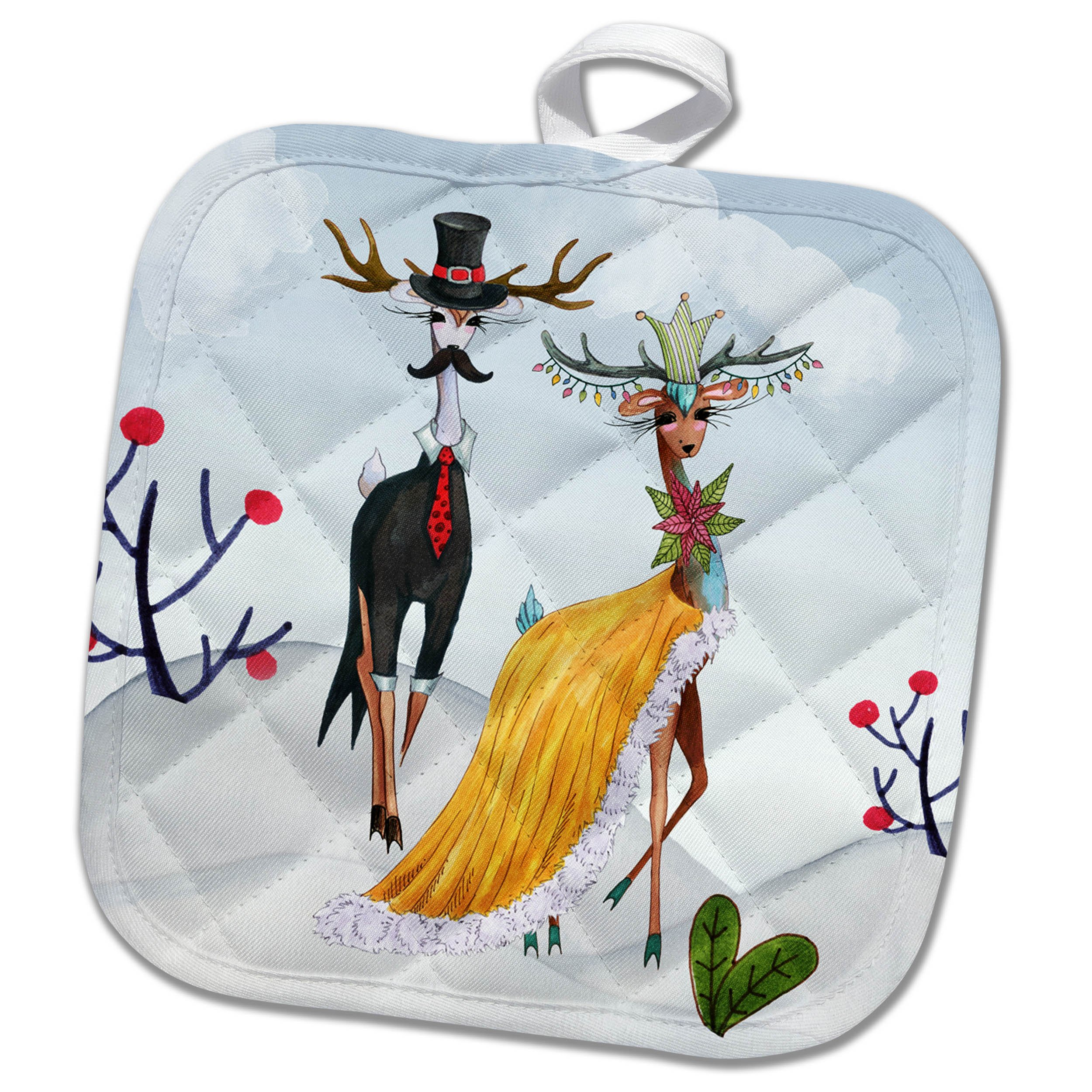 3dRose Trendy Fantasy Winter Fashion Show Deer Animal in Cool Dress Potholders, 8 x 8, White