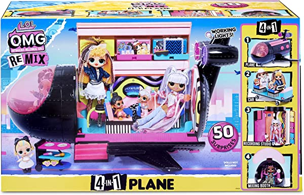 L.O.L. Surprise! O.M.G. Remix 4-in-1 Plane collectible surprise toy for kids in package