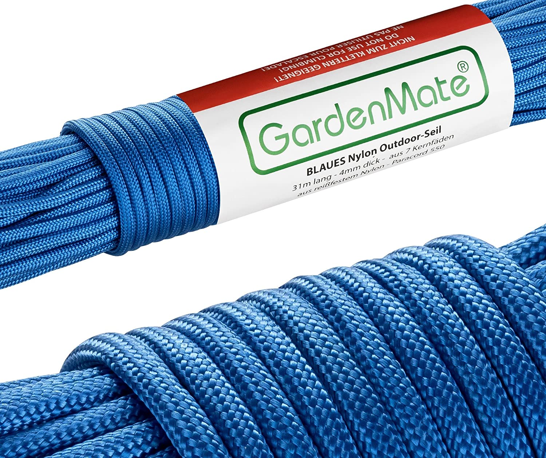 GardenMate® Cuerda de Nailon Profesional para Exteriores I 31 m Largo 4 mm Grosor I Paracord 550 I Cuerda Envolvente del núcleo con 7 Hilos de núcleo de Nailon Resistente al desgarro - Azul