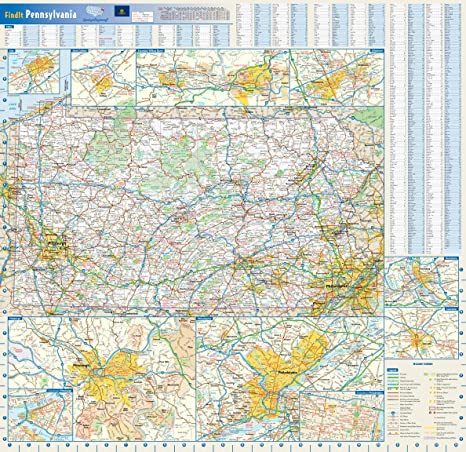 Amazon Com Pennsylvania State Wall Map 25 X 24 Paper Office