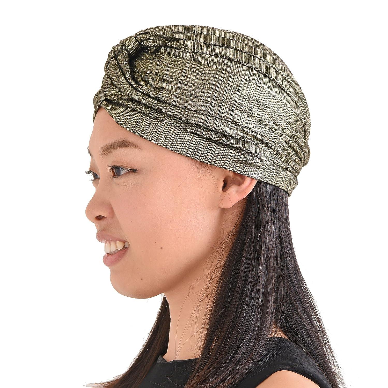 CHARM Casualbox | Metallic Twist Turban Hat Headwrap Arabian Festival Boho Fashion Chemo Hat 4589777966789