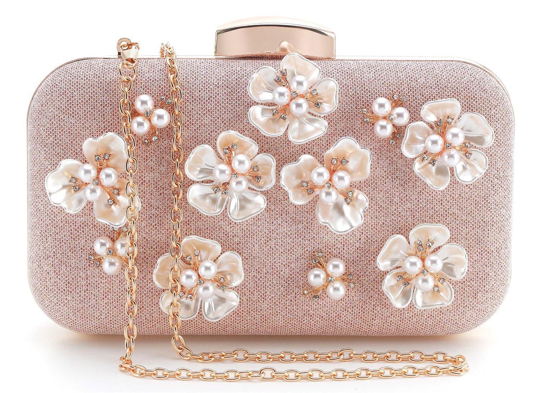 Yuenjoy Womens Glitter Floral Rhinestone Beaded Evening Bags Wedding Clutch Purse