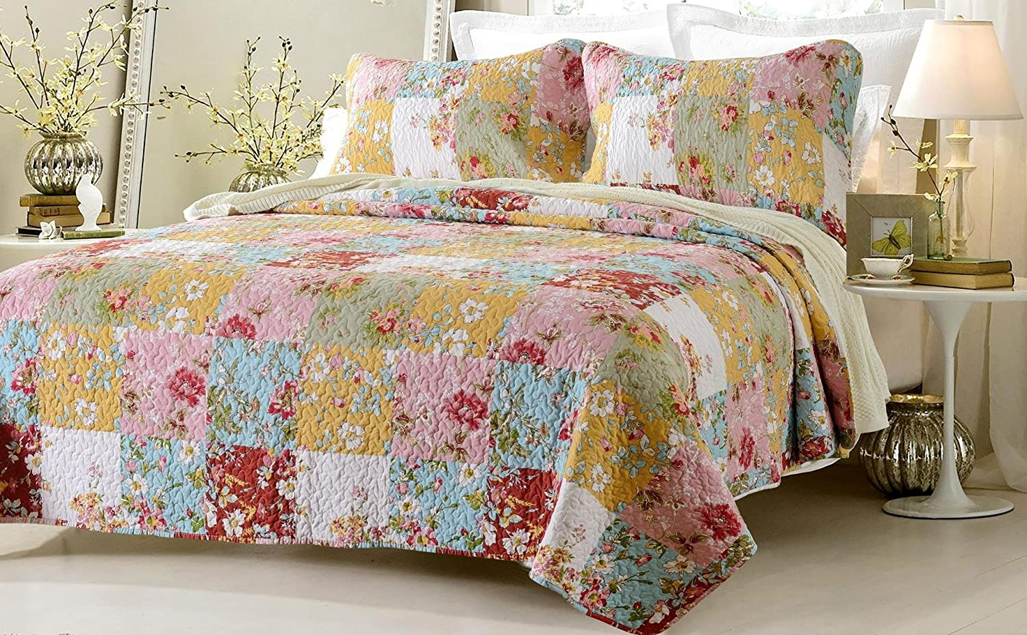 2pc Prairie Multi Color Printed Patchwork Quilt Set Style # 1003 - Twin/Twin XL - Cherry Hill Collection