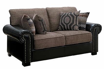 Amazon.com: Homelegance Boykin Dual Fabric Faux Leather/Chenille ...