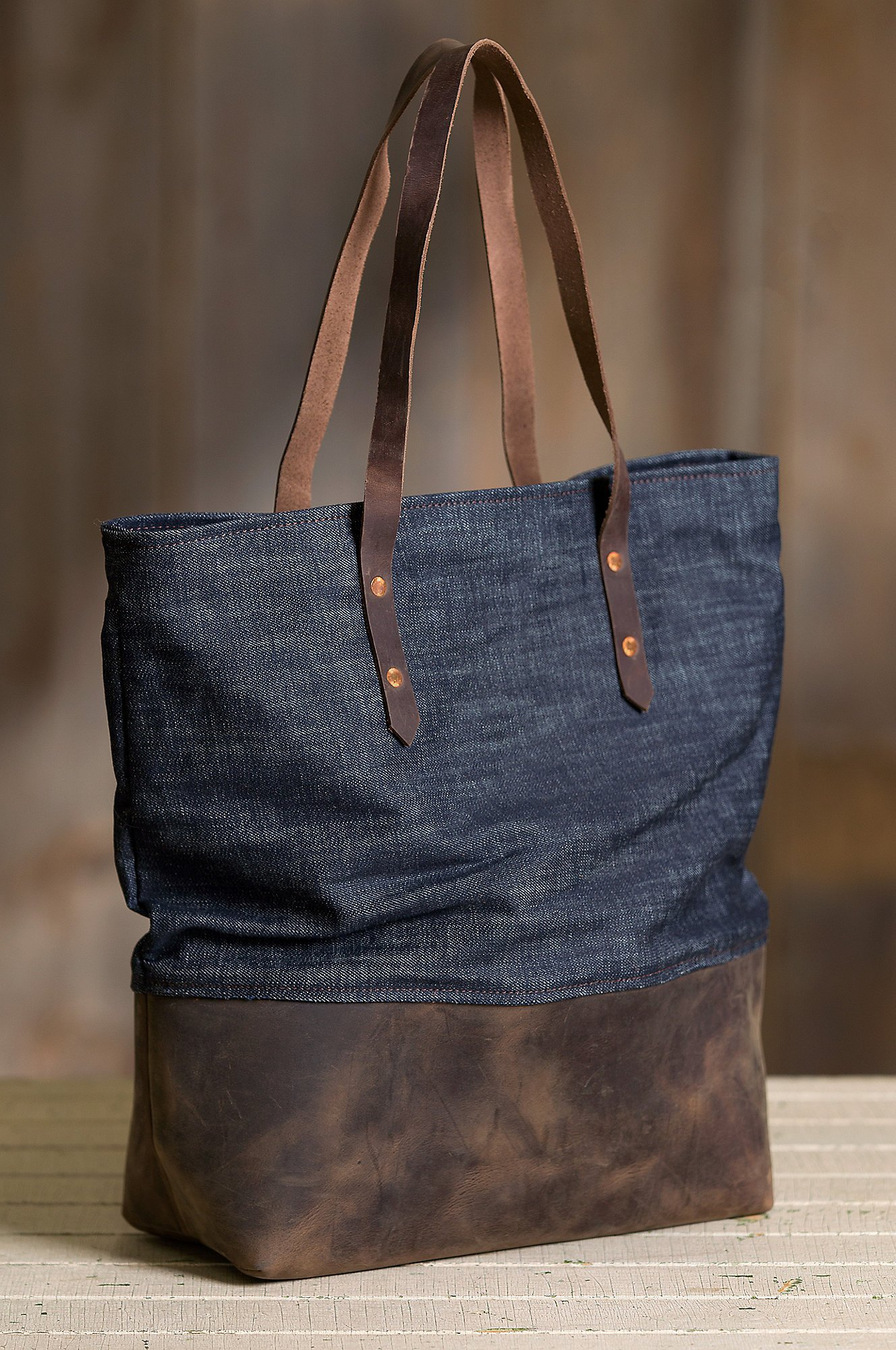 Overland Mills Denim and Leather Tote Bag by Overland Sheepskin Co (Image #2)