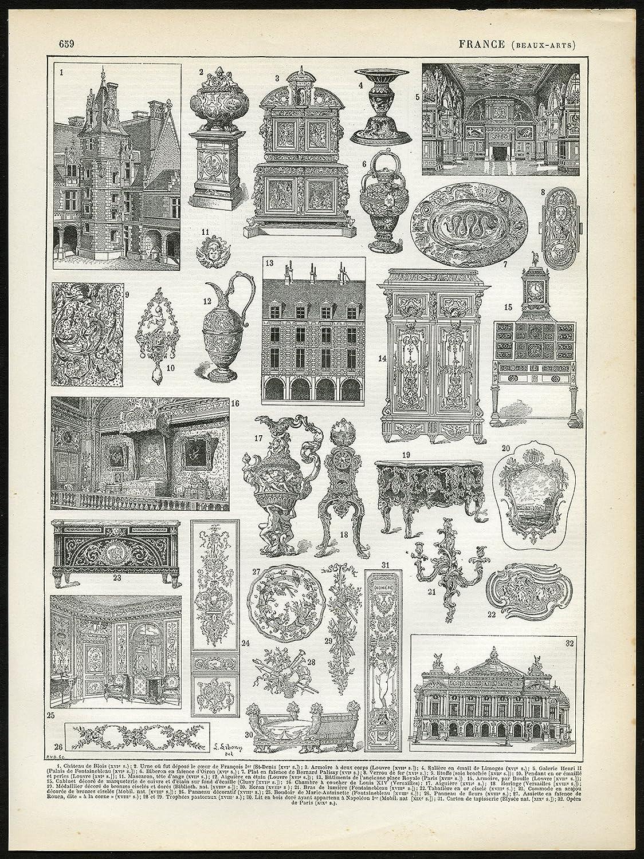 Amazon Com 2 Antique Prints Fine Arts Architecture Applied Arts France Larousse 1897 Posters Prints