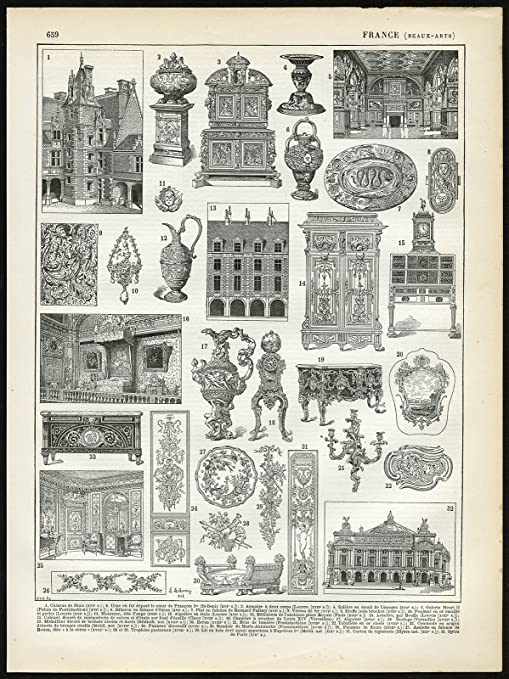 Amazon Com 2 Antique Prints Fine Arts Architecture Applied Arts France Larousse 1897 Posters Prints