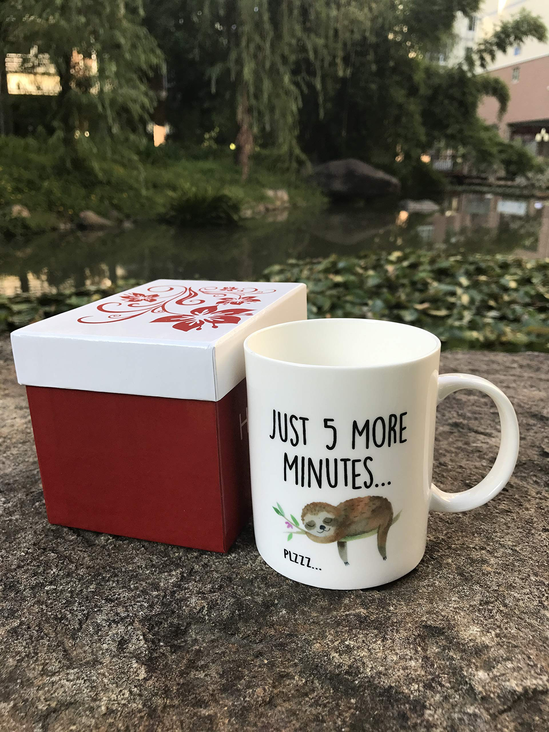 Hasdon-Hill Funny Sloth Cup, Just 5 More Minutes Coffee Mug, Cute Tea Lazy Gift For Her Him, Birthday Christmas, 11 Oz White Ceramic -