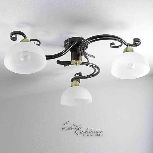 Deckenleuchte Landhaus Messing Weiss 3x E27 Bis 60w Deckenlampe
