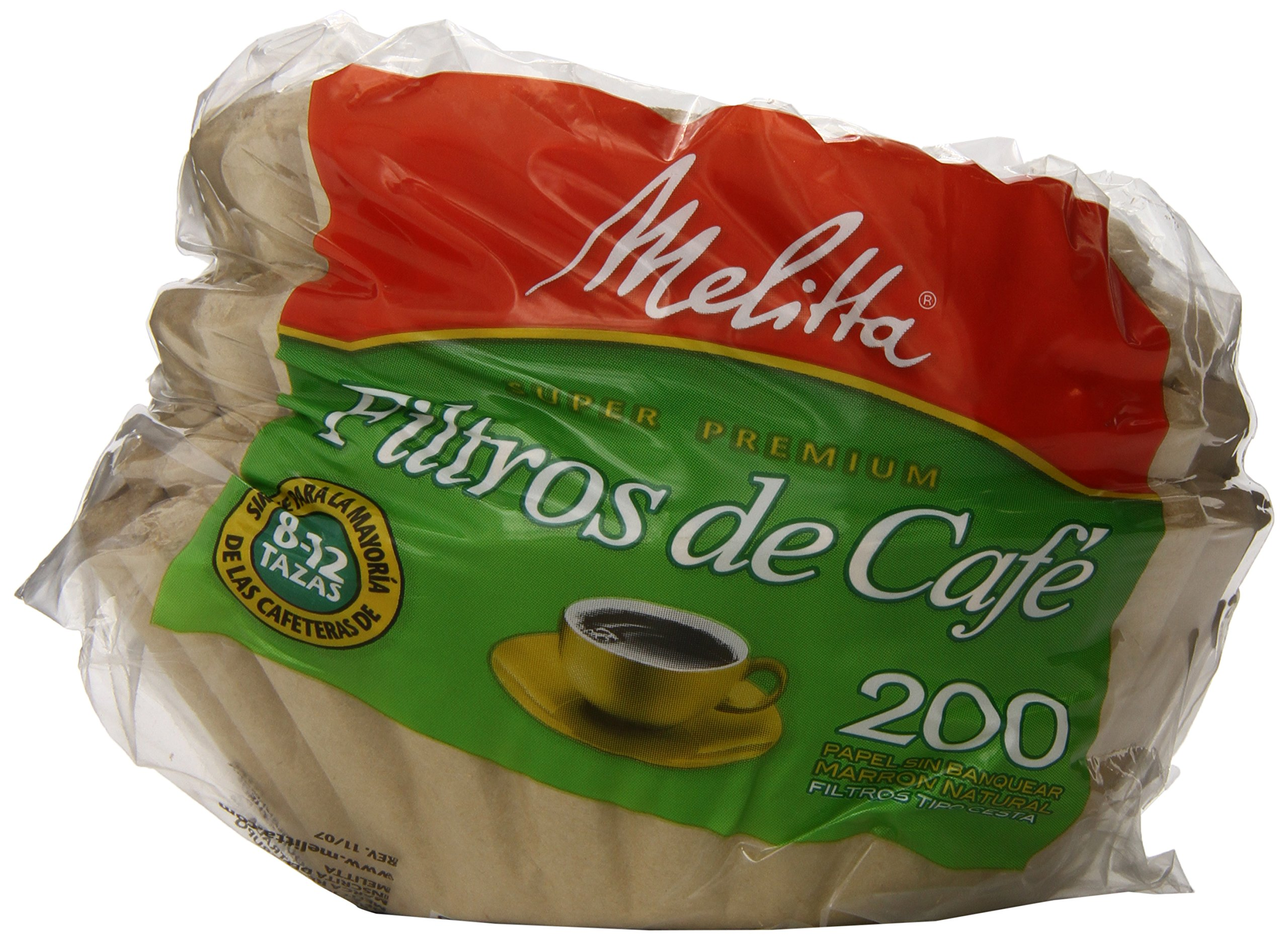 Melitta Basket Coffee Filters, Natural Brown (8 to 12-Cup), 200-Count Filters (Pack of 8)