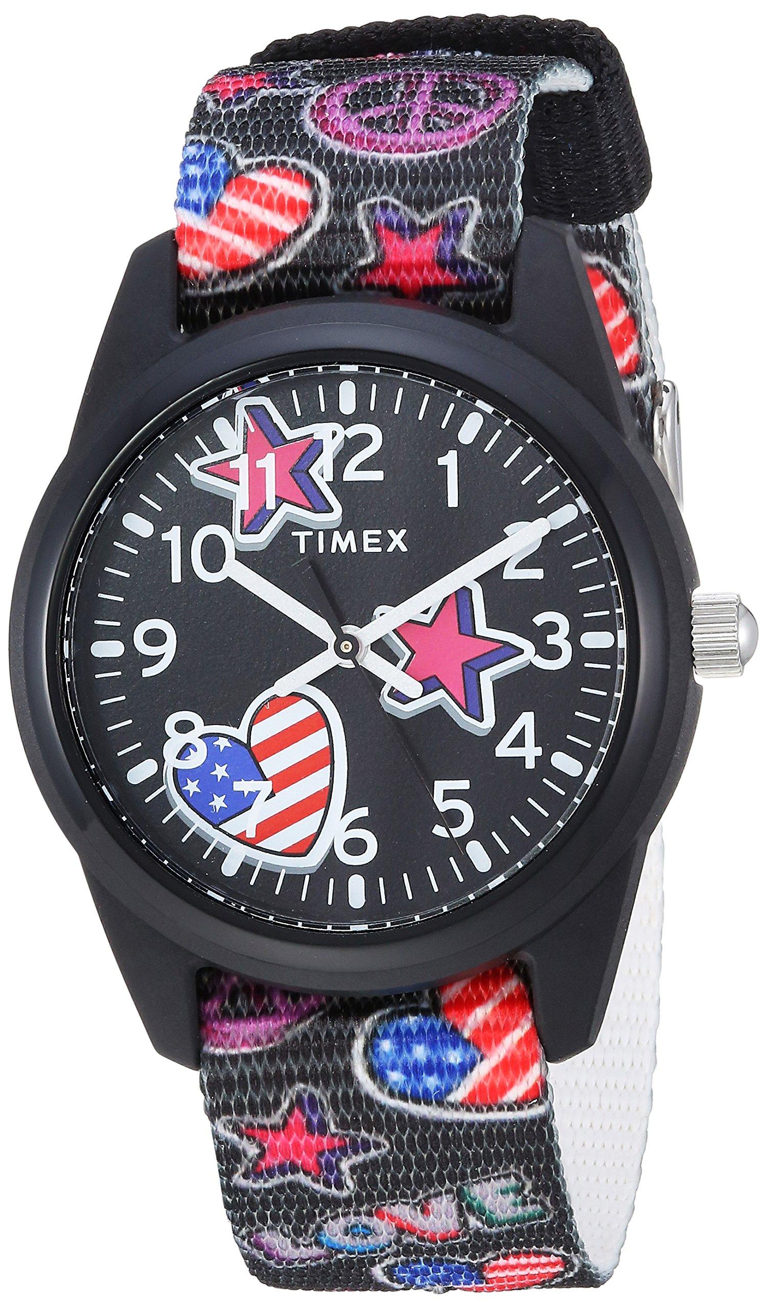 Timex Girls TW7C23700 Time Machines Black/Stars & Flags Nylon Strap Watch by Timex