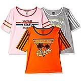 Ajile By Pantaloons Women's Tunic Plain Regular Fit Top (1100430_Orange, Grey Melange and Pink_Medium)