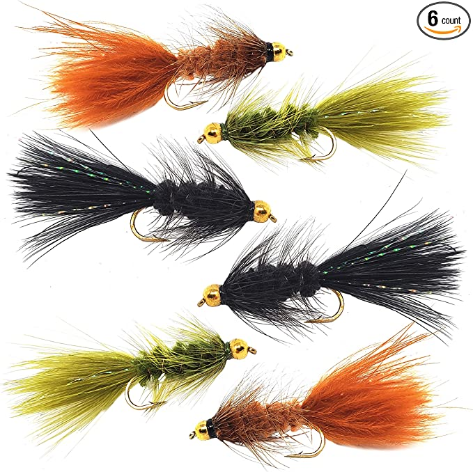 Tan and Gold Woolly Buggers Size 8 Set of 3 Fly Fishing Flies