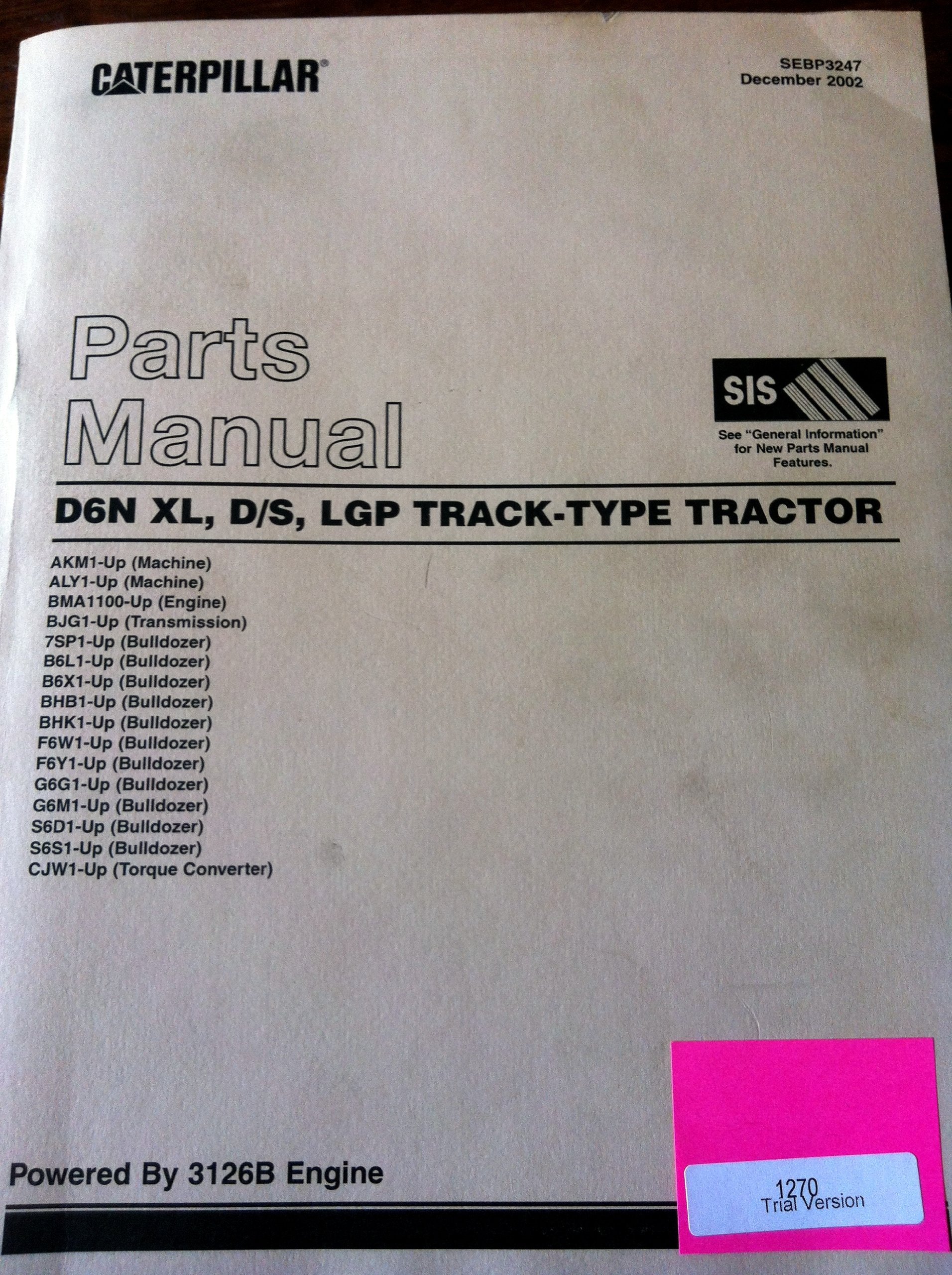 Cat Caterpillar D6N XL DS LGP Track Type Tractor Parts