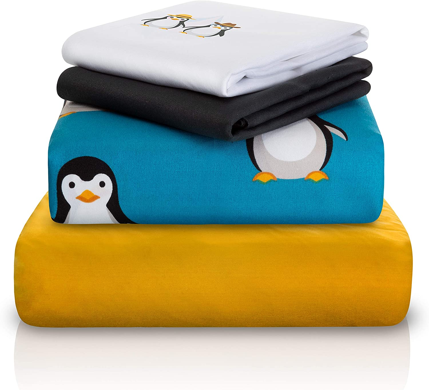 1 Fitted Sheet /& 2 Pillow Cases Double-Brushed Microfiber 15 Deep Durable Super-Soft Chital Full Bed Sheet Set 4 Pc Penguin Themed Kids Bedding Set Arctic Animal Collection 1 Flat