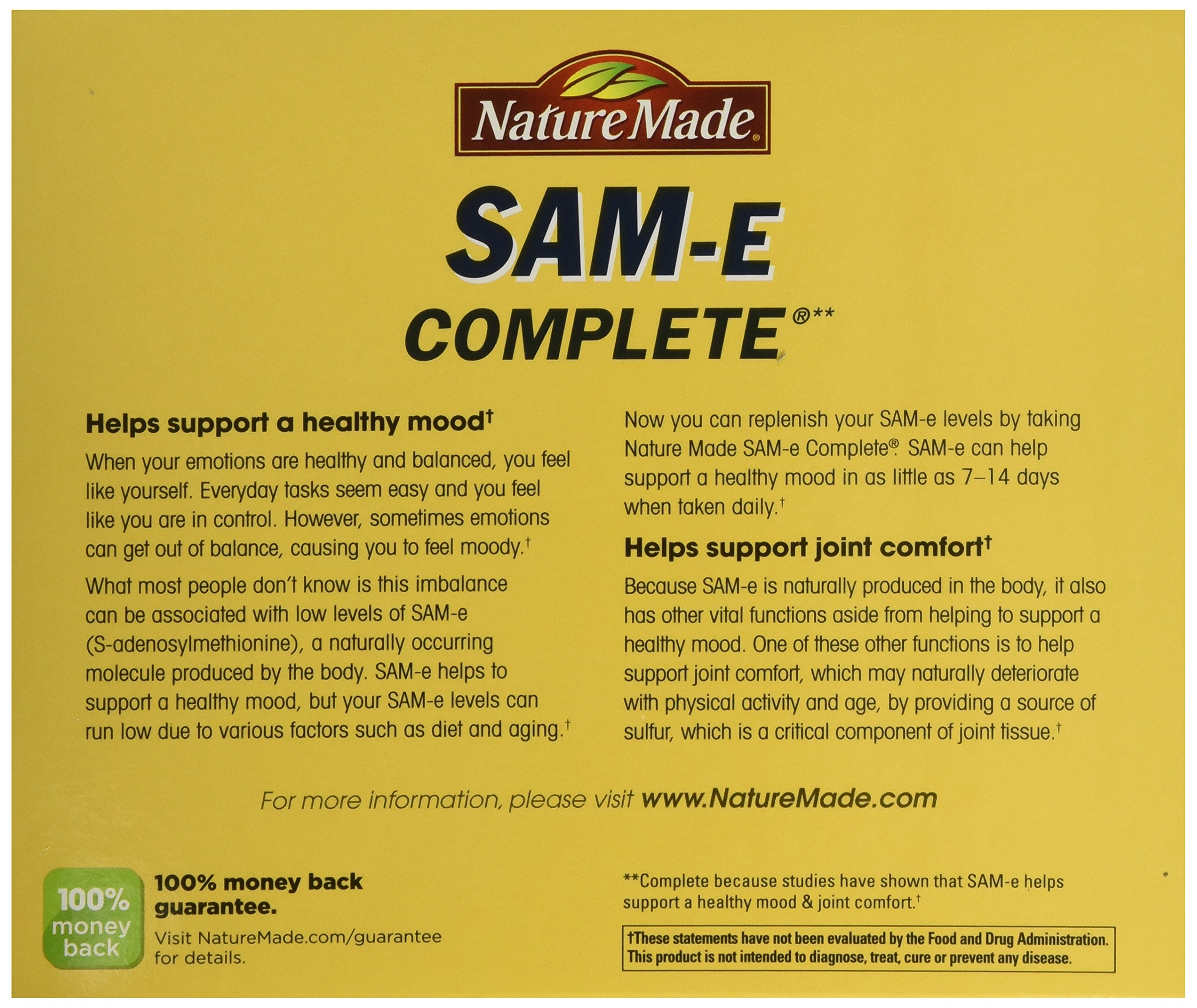 Nature Made SAM-e Complete 400 mg - 2 Boxes, 60 Enteric Tablets Each by Nature Made (Image #4)
