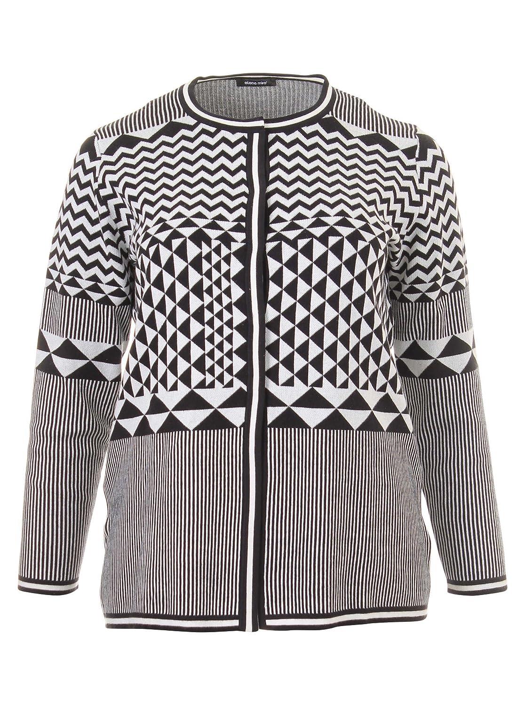 Cardigan mit Muster in schwarz/creme in Übergrößen (L, M, XL, XXL) von Elena Miro