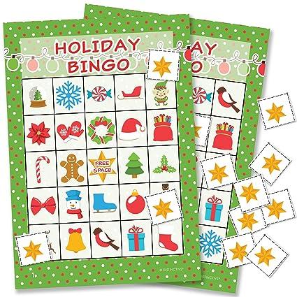 amazon com holiday christmas bingo game for kids 24 players