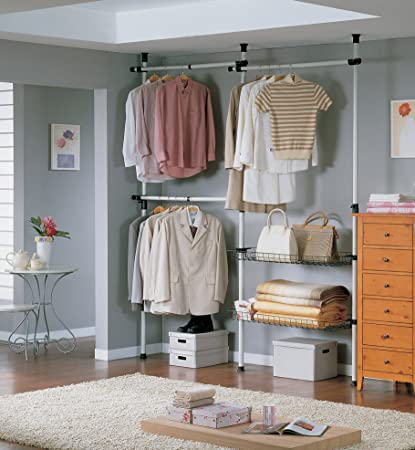 SoBuy Garment Rack, Freestanding Closet ,Clothes Drying Rack, Clothes Rack,  Storage Shelving