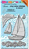 Stampendous Cling Rubber Stamp Set, Sailboats with Template