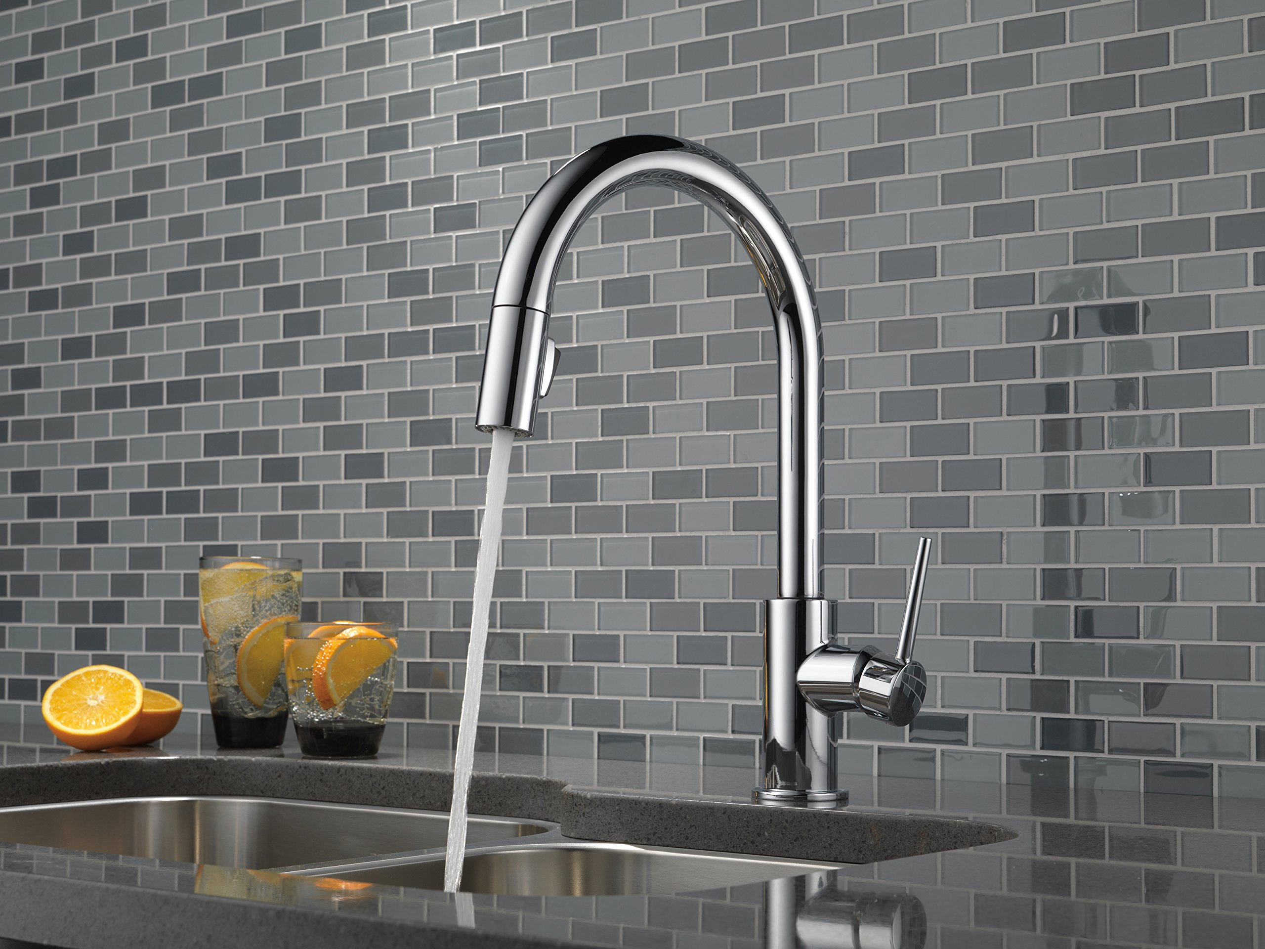 Delta Faucet 9159-CZ-DST Trinsic Single Handle Pull-Down Kitchen ...