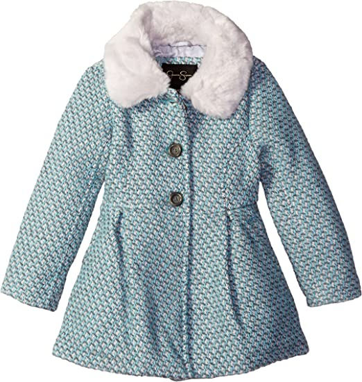 Jessica Simpson Girls Faux Wool Dress Coat Jacket with Cozy Collar
