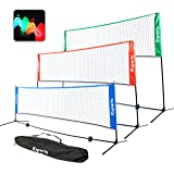 Ksports Tennis Net Bundle Comprising of−One Red 17ft Multisports Net−4 LED Birdies Shuttlecocks−One Carry Bag−for Tennis…