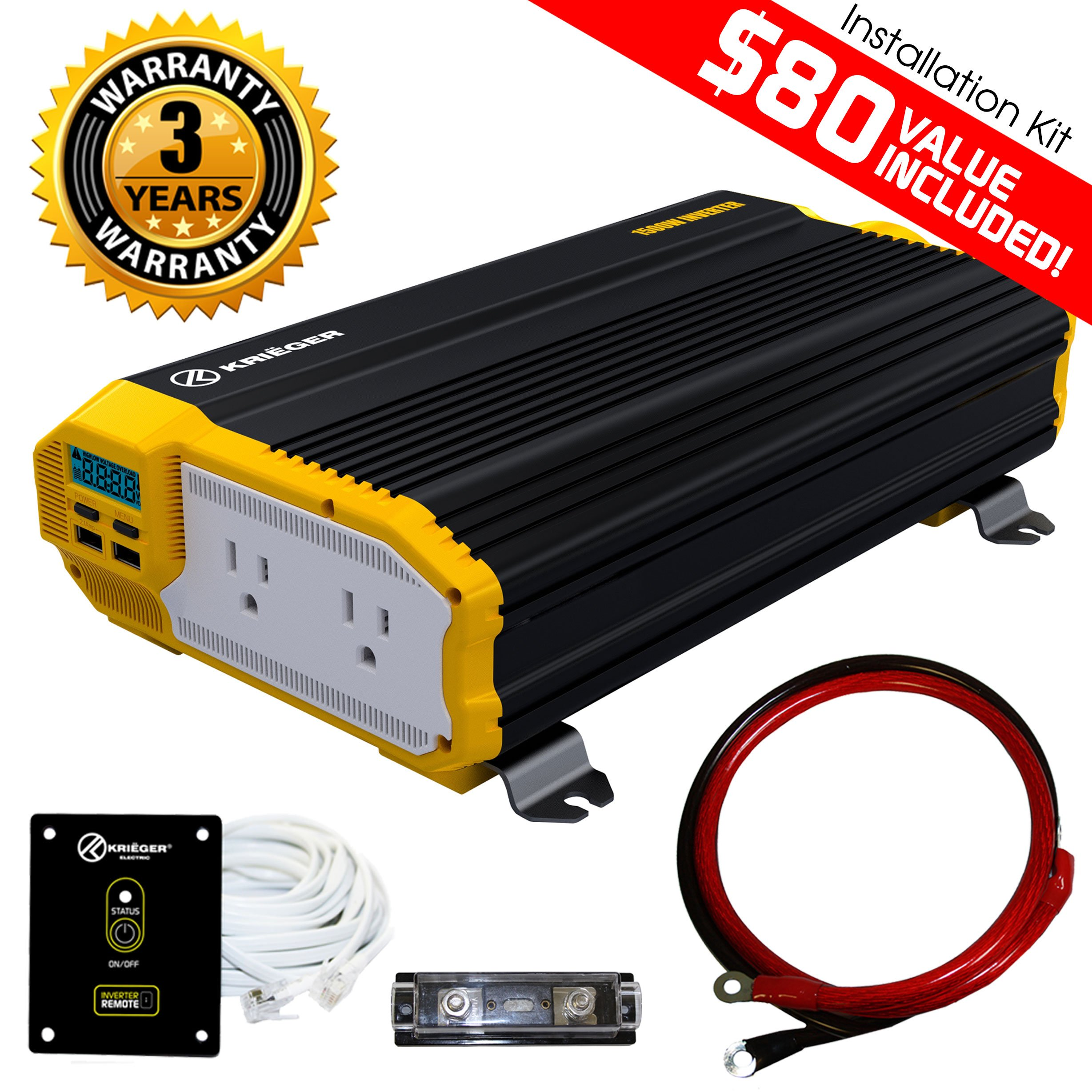 KRIËGER 1500 Watt 12V Power Inverter Dual 110V AC outlets, Installation kit included, Automotive back up power supply for Blenders, vacuums, power tools ... MET approved according to UL and CSA.