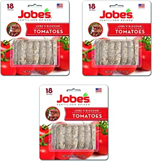 product image for Jobe's Tomato Fertilizer Spikes, 6-18-6 Time Release Fertilizer for All Tomato Plants, 18 Spikes per Blister Package, 3-Pack, 54 Spikes Total