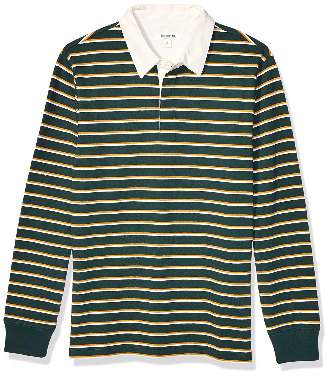 Goodthreads Long-Sleeve Striped Rugby Polo-Shirts, Pine Green Gold ...