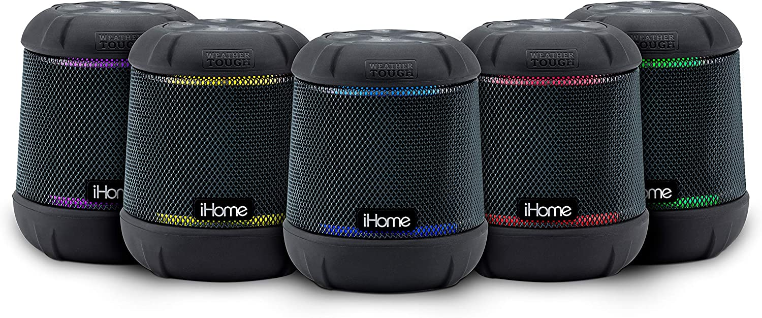 iHome iBT155 Bluetooth Speaker Weather Tough Color Changing Waterproof Portable Wireless Speaker with Built-in Passive Subwoofer