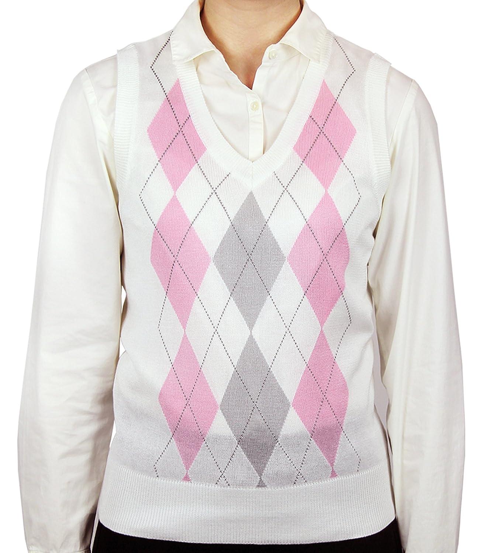1920s Style Blouses, Tops, Sweaters, Cardigans Blue Ocean Ladies Argyle Sweater Vest $33.00 AT vintagedancer.com