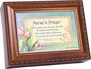 Cottage Garden Nurse's Prayer Woodgrain Rope Trim Jewelry Music Box Plays Great is Thy Faithfulness