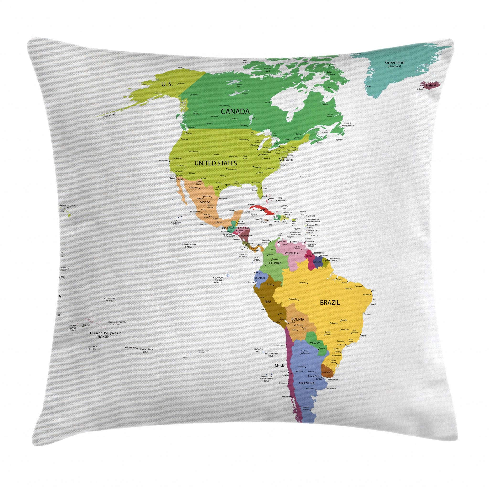 Ambesonne Map Throw Pillow Cushion Cover, Map of South and North America with Countries Capitals and Major Cities Colorful Design, Decorative Square Accent Pillow Case, 26 X 26 Inches, Multicolor
