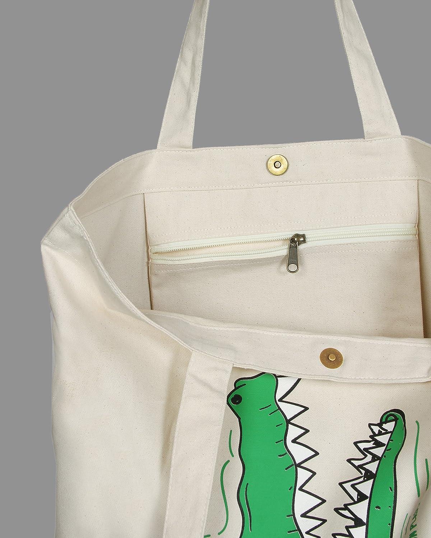 grande Eono Essentials reutilizable y ecol/ógica con estampado /«Civilization/» Beige Natural Bolsa al hombro de 100//% algod/ón//tela
