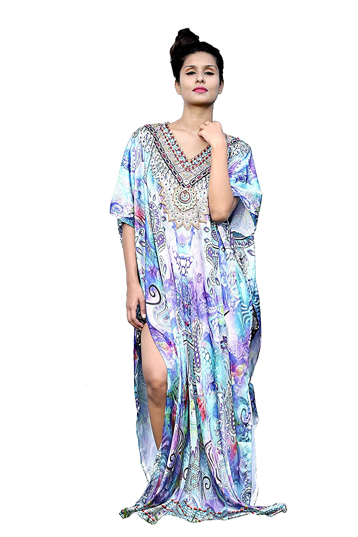 New Silk kaftan look & feel embroider crystal beaded kaftan beach wear caftan dress 89