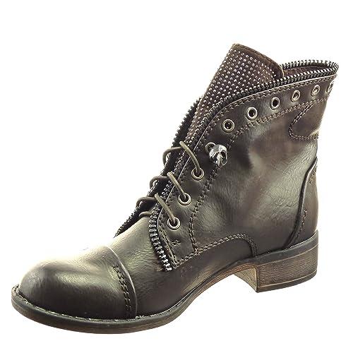 Sopily - Zapatillas de Moda Botines botas militares Tobillo mujer strass cremallera Talón Tacón ancho 3 CM - Marrón WLD-7-JM-60 T 41: Amazon.es: Zapatos y ...