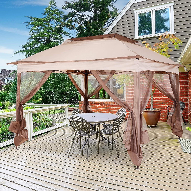 Outsunny - Cenador de jardín con mosquitera, Impermeable, Plegable ...
