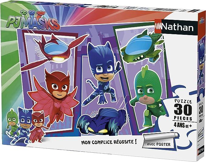 Nathan PJ Masks 86357 - Puzle de pijamascos y supervehículos (30 Piezas)