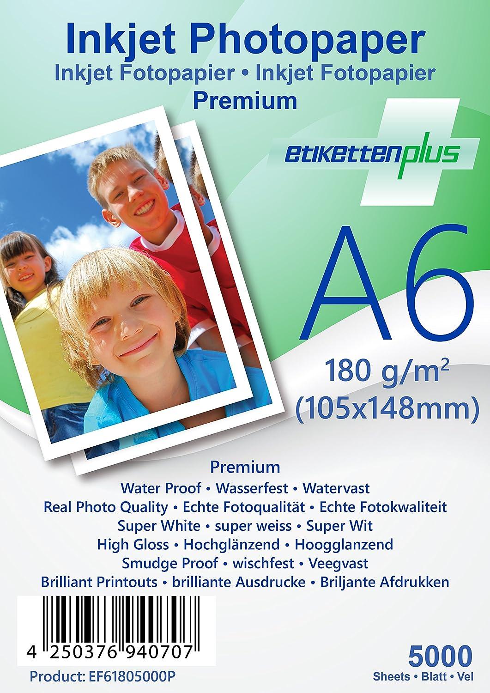 EtikettenPlus EtikettenPlus EtikettenPlus Ltd, 1000 Blatt, Premium Fotopapier, EF41801000P, A4 (210x297 mm) 180g qm hoch-glänzend (high-glossy), wasserfest, sofort wischfest für alle Tinten- und Fotodrucker B018NX3OPI | Üppiges Design  abd731