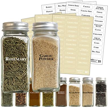 226 White Spice Label Set: 96 Spice Names + 17 Write-On Labels by Talented Kitchen. White & Black Letters on Clear Sticker. Waterproof Preprinted Spice Sticker Spice Labels for Spice Jars