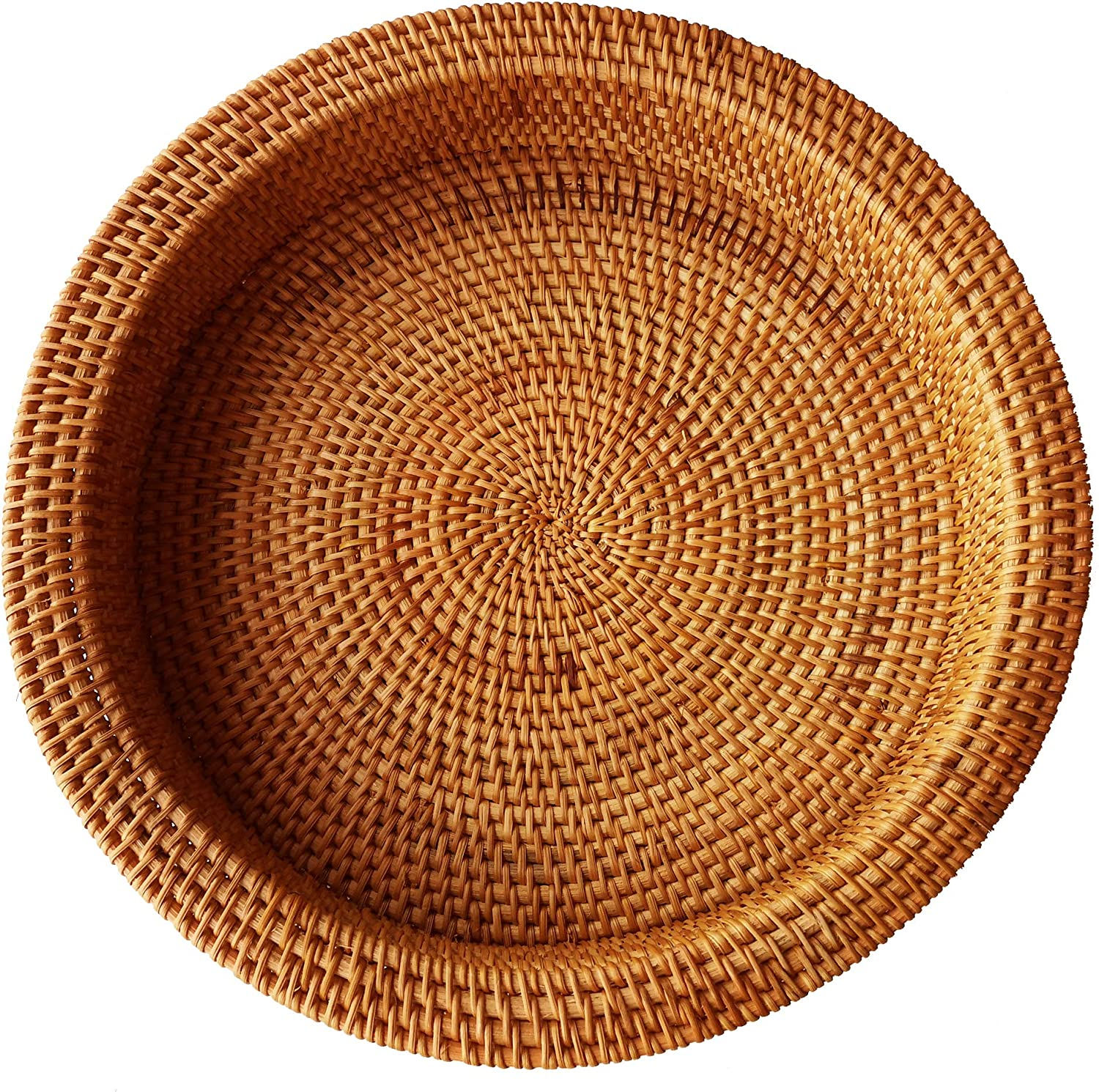 Amazon Com Rattan Handwoven Round High Wall Severing Tray Food