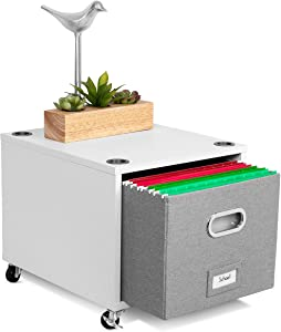 BirdRock Home Rolling File Cabinet with 1 Lateral Drawer – Decorative Storage Shelf for, Blankets, Books, Files, Magazines, Toys, etc – Removable Bin with Handles – Under Desk Office Living Room Home