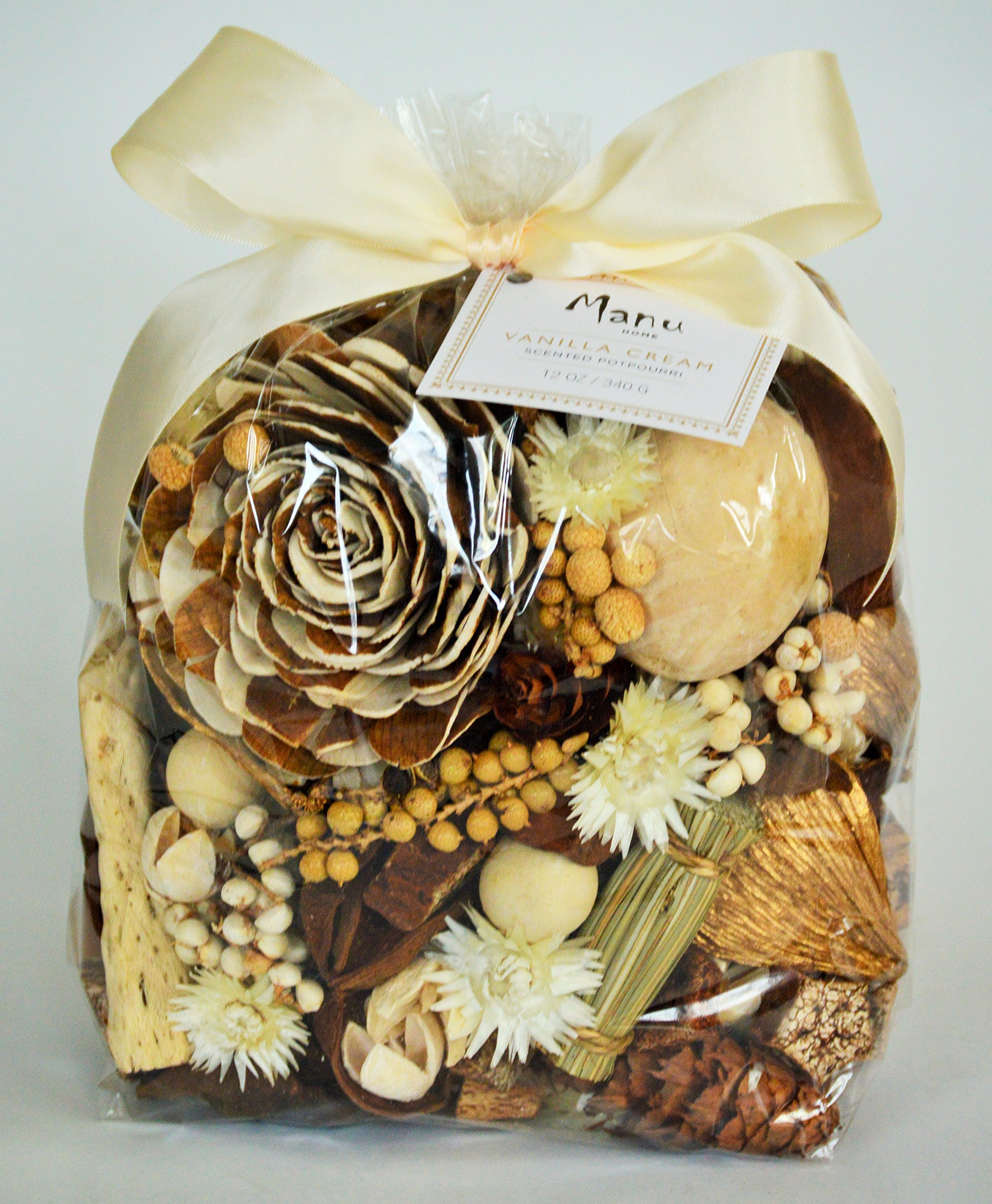Manu Home Large Vanilla Potpourri bag~ The delectable scent of authentic vanilla bean blended with warm woods and amber-all in a colorful mix that fills a room with fragrance ~Made in the USA! by Manu Home