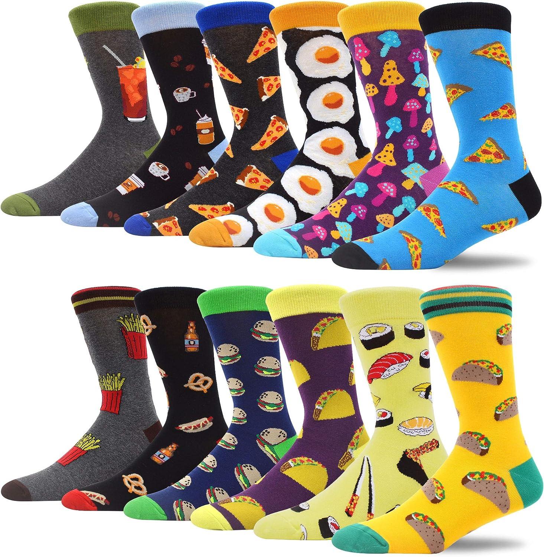 MAKABO Fun Casual Socks For Men Colorful Patterned Funny Novelty Dress Crew Socks 12 Packs