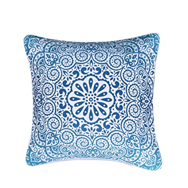 Sleepwish Indian Mandala Throw Pillow Cover Bohemian European Square Pillow Sham Indoor/Outdoor Cushion Covers 28x28 Inch (Turquoise Paisley)