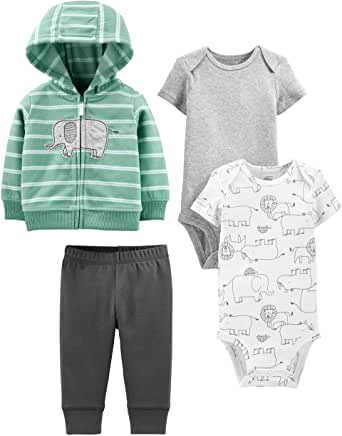 Simple Joys by Carter's Conjunto de 4 Piezas de Chaqueta, Body y pantalón Neutro Unisex bebé, Pack de 4