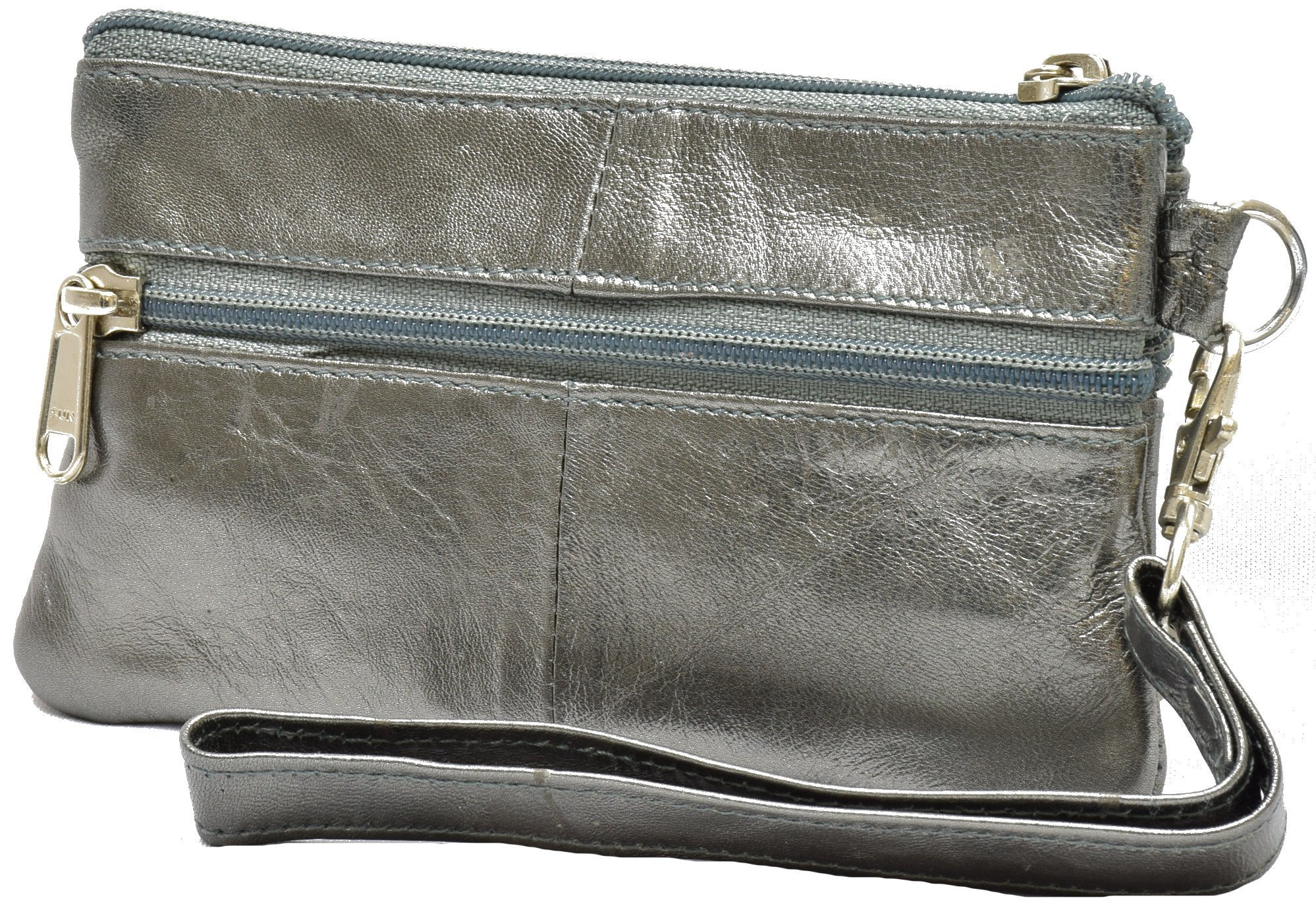 Handcrafted Genuine Leather Sunglasses Coin Purse Pouch (pewter)