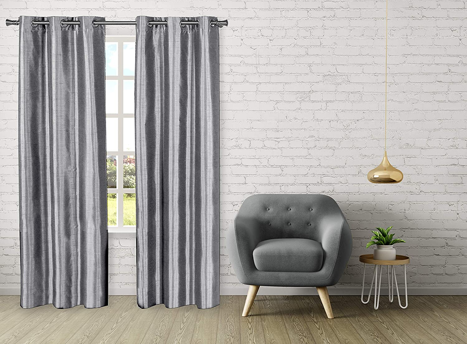 Dainty Home Town House Newport Woven Thermal Room Darkening Noise Light Reducing Faux Silk Curtain Panel Pair, 76''W x 96''L, Silver